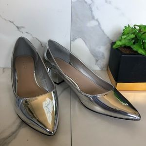 Aldo Silver Metallic Reflective Pointed Toe Heels